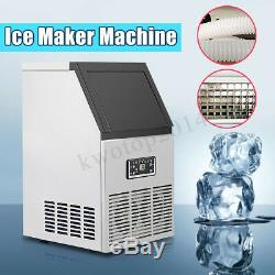 110Lbs Stainless Steel Auto Commercial Ice Maker Cube Machine Bar Undercounter