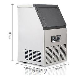 130Lbs/60Kg Auto Commercial Ice Cube Maker Machine Stainless Steel Bar 110V 270W