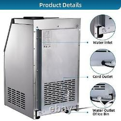 132.3 lbs/24h COMMERCIAL ICE MAKER STAINLESS STEEL MACHINE Ice Crusher & Scoop