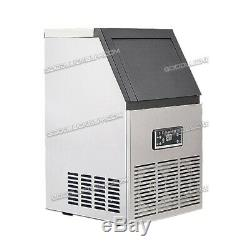 40KG 88Lbs Commercial Bar Ice Maker Cube Machines Stainless Steel 110V