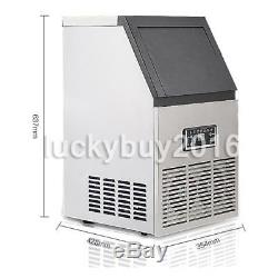 40KG 88Lbs Commercial Bar Ice Maker Cube Machines Stainless Steel 220V