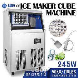 50KG/ 24HR Commercial Ice Cube Maker Machine 110lbs Supermarkets Bars 220V