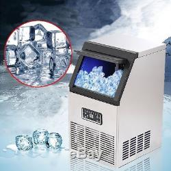 50kg Automatic Commercial Ice Maker Cube Machine Stainless Steel Bar 110Lbs UK