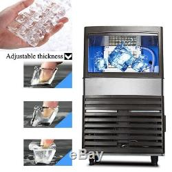 55KG Ice Cube Making Machine Countertop Stainless Steel Commercial Bar Maker