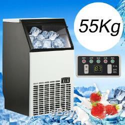 55kg/121Lbs Commercial Ice Cube Maker Machines Stainless Steel Bar Restaurant