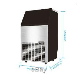 55kg 121Lbs Commercial Ice Cube Maker Machines Stainless Steel Bar Restaurant