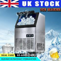 55kg/24h Commercial Stainless Steel Auto Ice Maker Frozen Cube Making Machine UK