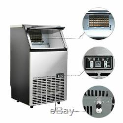 60KG/Day Commercial Ice Cube Maker Machine Auto Home Under Counter Steel Body