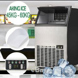60KG/Day Portable Commercial Ice Cube Maker Machine Auto Counter Bar Steel New