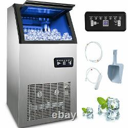 60Kg/Day Commercial Ice Cube Maker Machine Auto Counter Bar Stainless Steel 410W
