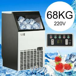 68KG/150Lbs Commercial Bar Ice Maker Cube Machine Stainless Steel 240W 220V 50Hz