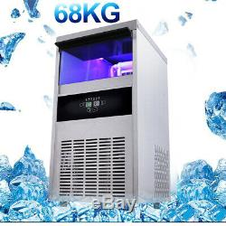 68KG/150Lbs Stainless steel Commercial Ice Cube Maker Machine AU Plug 220-240V