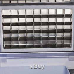 68kg/150lbs Ice Cube Maker Commercial Ice Making 45pc Cubes Stainless Steel