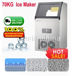 70KG Commercial Ice Cube Maker Machines Stainless Steel Bar Restaurant 300W UK