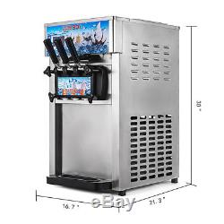 CE Commercial Soft Ice Cream Machine 3 Flavors Frozen Yogurt Cone Maker 18L/H