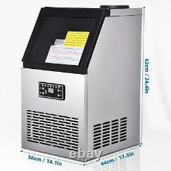 COMMERCIAL ICE MAKER AUTO STAINLESS STEEL MACHINE FREE Ice Scoop 60/70/80KG/24HR