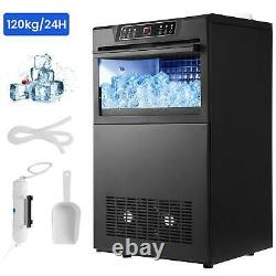 COMMERCIAL ICE MAKER STAINLESS STEEL MACHINE 120KG/24HR FREE Scoop Stores Bars