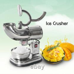 Commercial Electric Ice Crusher Shaver Snow Cone Stainless Steel 180KGS/H 220W