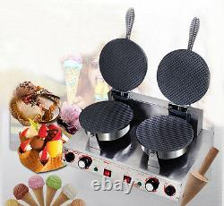 Commercial Ice Cream Waffle Cone Maker One Head/ Two Heads Nonstick Baker 220V