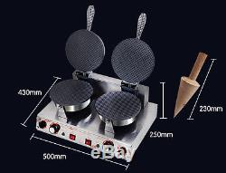 Commercial Ice Cream Waffle Cone Maker One Head/ Two Heads Nonstick Baker 220V Y