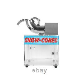 Commercial Ice Crusher Snow Cone Maker Stainless Steel Shredder Machine with Box