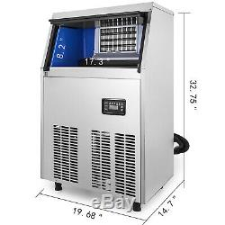 Commercial Ice Maker Machine 40kg 88LBs/24H Stainless Steel 32 Ice Cubes/Plate
