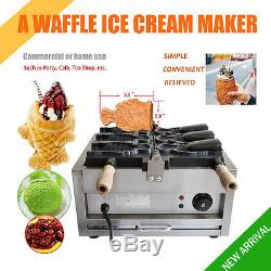 Commercial Nonstick Electric Waffle Maker Taiyaki 3pc Fish Shape Snack Ice Cream