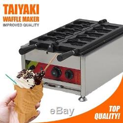 Ice Cream Fish Waffle Maker 110V Commercial Grade Non-Stick Digital Open Mouth