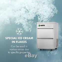 Ice Cube Machine Flake Ice Maker Commercial 20kg / 24h LED Steel Silver