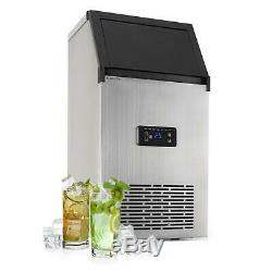 Ice Cube Machine Makers commercial 28kg / d 16l Blue LED Stainless Steel Black