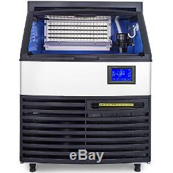 Ice Cube Maker Machine 120Kg/265Lbs Commercial Auto-alarm Ice Scoop OneKey Clean