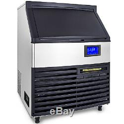 Ice Cube Maker Machine 120Kg/265Lbs Commercial Water Filter LCD Heat Insulation