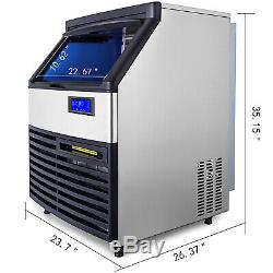 Ice Cube Maker Machine 130Kg/287Lbs Commercial Automatic LCD Control Panel 750W