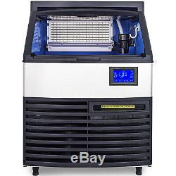 Ice Cube Maker Machine 200Kg/440Lbs Commercial R404a Auto-alarm Ice Scoop LCD