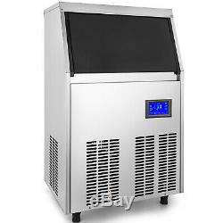 Ice Cube Maker Machine 40Kg/88Lbs Commercial 48 Ice Tray Water Filter St. Steel