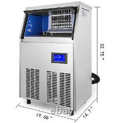 Ice Cube Maker Machine 50Kg/110Lbs Commercial LCD Control Panel Heat Insulation