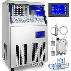 Ice Cube Maker Machine 50Kg/110Lbs Commercial One Key Clean 251W Timing Cleaning