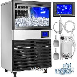 Ice Cube Maker Machine 55Kg/121Lbs Commercial LCD Control Panel Heat Insulation