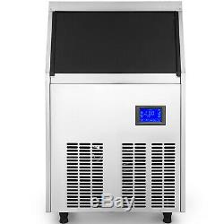 Ice Cube Maker Machine 60Kg/132Lbs Commercial Microcomputer 22mm Cube Auto-alarm