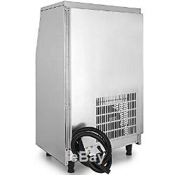 Ice Cube Maker Machine 60Kg/132Lbs Commercial Microcomputer Heat Insulation