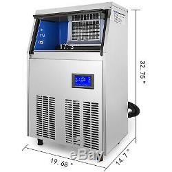 Ice Cube Maker Machine 60Kg/132Lbs Commercial R134a Timing Cleaning 22mm Cube