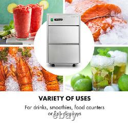 Ice Cube Maker Machine Flake Commercial 20 kg/day LED Stainless Steel Silver