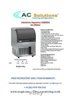 Interlevin AQ60SS Commercial Ice Machine Cube Maker for Pub Or Restaurant