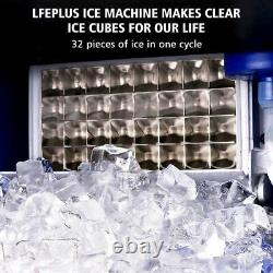LIFEPLUS Commercial Ice Maker Machine 70lbs/24h Ice Cube Machine with 17LBS I