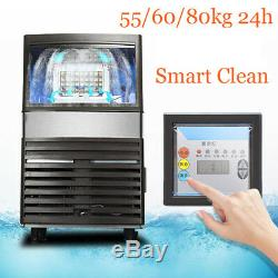 Stainless Steel Commercial Automatic 110Lbs 55/60/80kg Ice Cube Maker Machine