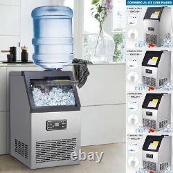 UK COMMERCIAL ICE MAKER STAINLESS STEEL MACHINE 60/70/80KG/24HR Ice Free Scoop