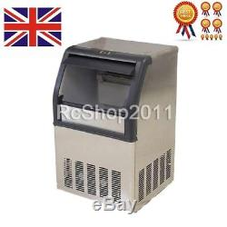 UK Commercial Ice Maker Stainless Steel Machine 40kg Restaurant Bar Icemaker