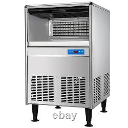 VEVOR 125LBS/24H Commercial Ice Cube Maker Machine Counter Bar Stainless Steel