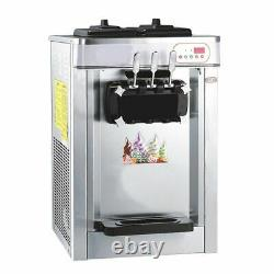 WOO 240V Commercial Automatic Frozen Soft Ice Cream Cones Maker Machine 3 Flavor